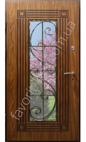 Бронедвери со стеклом и ковкой, модель «Европа», 2 мм. сталь, 95 мм. толщина полотна