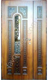 Бронедвери, патинированные с 3Д рисунком со стеклом и ковкой, модель «Каравела», 2 мм. сталь, 80 мм. толщина полотна