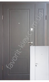 Полуторні вуличні вхідні двері чорно-білі, модель «Прайм»