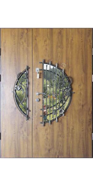 входные бронированные двери со стеклом и ковкой