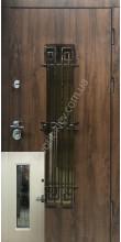 Входные бронедвери «Лайт стекло и ковка » 2 мм. сталь, 98 мм полотно, дуб темный/дуб беленый