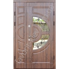 Входные уличные полуторные двери, модель «Милан две створки», 2 мм. сталь, толщина полотна 80 мм.