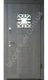 Входные двери со склопакетом и ковкой, модель «Рио» серого цвета