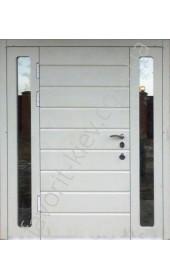 Входная трехстворчатые бронированные двери со стеклопакетом и ковкой, модель «Арабика в слоновой кости»