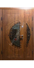 Входная бронированная дверь со стеклом и ковкой, модель «Леванте»