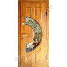 Вхідні двері зі склопакетом та ковкою, модель «Чезена»