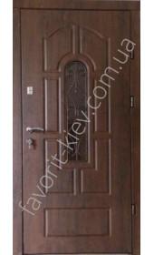 Бронированная дверь со стеклопакетом и ковкой, модель «Лилия»