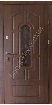 Броньовані двері зі склопакетом та ковкою, модель «Лілія»