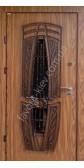 Бронированная дверь со стеклом и ковкой, модель «Леона»