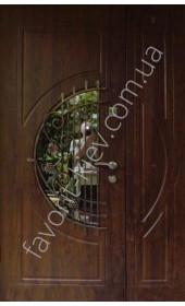 Полуторная дверь со стеклопакетом и ковкой, модель «Сенат»