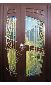 Бронированная дверь со стеклом и ковкой, модель «Лотос»