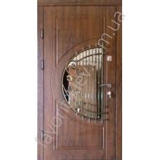 Входная бронированная дверь со стеклопакетом и ковкой, модель «Милена»