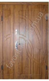 Полуторні вуличні двері «Фантом», ПВХ золотий дуб