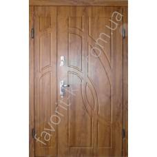 Полуторные уличные двери «Фантом», ПВХ золотой дуб