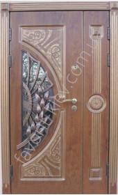 Полуторная бронедверь дверь со стеклопакетом и ковкой, модель «Соната»