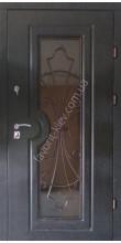 Входная бронедверь со стеклопакетом и ковкой, модель «Сицилия»