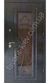 Вхідні броньовані двері зі склопакетом та ковкою, модель «Сицилія»
