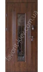 Вхідні двері зі склопакетом та ковкою, модель «Алаверді»