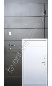 Входные двери, черно-белые, на половину белый покрас короба, модель «Артуа», толщина полотна 90 мм.