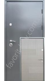 Входные серые уличные двери, модель «СтальВип-С», 2 мм. сталь, металл\мдф.