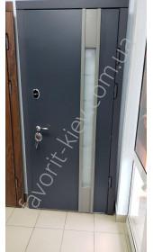 Входные уличные двери, «Ностра Антрацит» со стеклопакетом, 1,8 мм. металл полотна, оцинкованная сталь/мдф