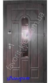 Дверь со стеклопакетом и ковкой на улицу, цвет «венге темный»