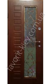 Бронедвери со стеклом и ковкой модель «Прайд», 2 мм., разноцветные