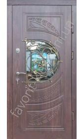 Входные бронированные двери, модель «Ваннила» со стеклом и ковкой