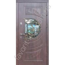 Вхідні броньовані двері, модель «Ваннила» зі склом та ковкою