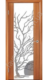 "Двері Глазго ПО тик, декор Дерево с солнцем ""Woodok"""