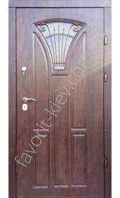 Бронированная дверь со стеклопакетом и ковкой, модель «Олимп»
