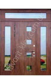 Бронедвері двері зі склом і ковкою, модель «Престиж» в темному дубі