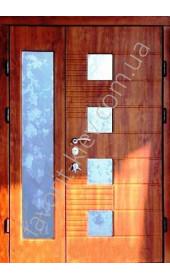 Бронедвері двері зі склом і ковкою, модель «Престиж» в золотому дубі