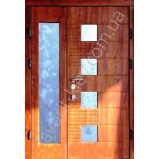 Бронедверь дверь со стеклом и ковкой, модель «Престиж» в золотом дубе
