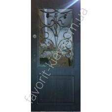 Бронированная дверь со стеклом и ковкой, модель «Элегант»