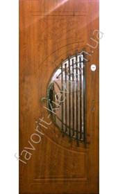 Входная бронированная дверь со стеклом и ковкой, модель «Кантри»