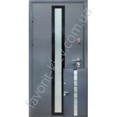 Бронедвери, «Зебрана» с трехкамерным стеклопакетом, 2 мм. сталь, 98 мм. толщина полотна, оцинкованная сталь/мдф